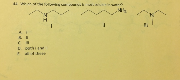 Solved: Which Of The Following Compounds Is Most Soluble I ...