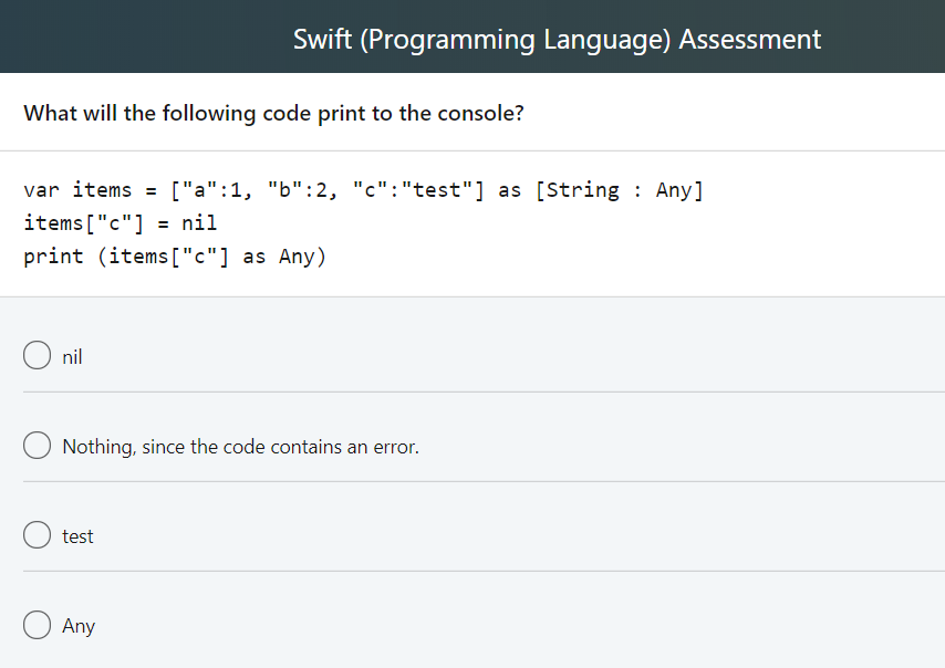 Solved: Swift (Programming Language) Assessment What Data