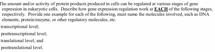 The amount and/or activity of protein products produced in cells can be regulated at various stages of gene expression in euk