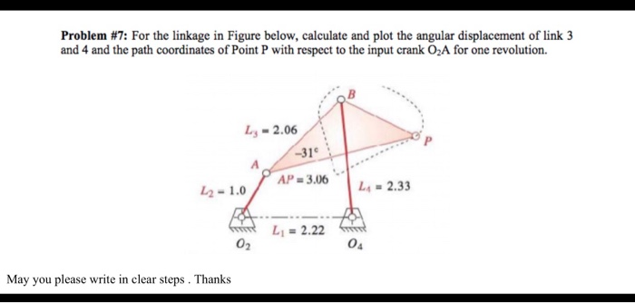 Solved: Problem #7: For The Linkage In Figure Below, Calcu