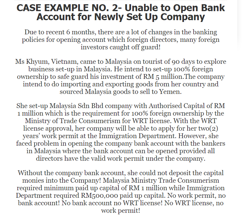 Solved: CASE EXAMPLE NO  2- Unable To Open Bank Account Fo
