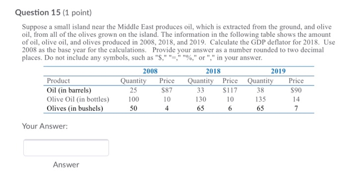 Solved: Question 15 (1 Point) Suppose A Small Island Near