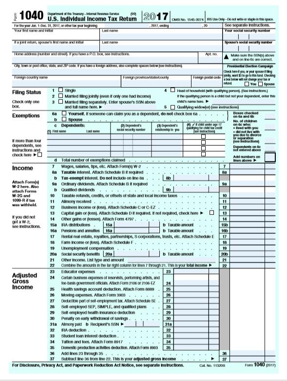 form 1040 us individual income tax return 2017  Individual Tax Return Problem 17 Requlred: .Use The ...