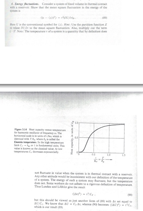 Solved Energy Nuctuations Consider A System Of Fixed Vol