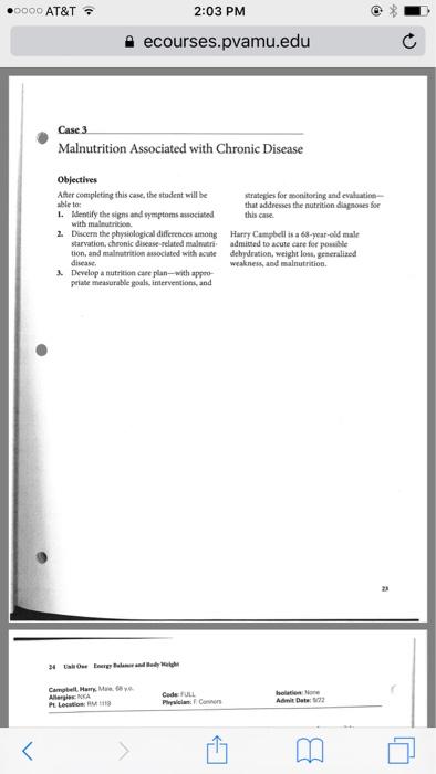 Solved: ○0000 AT&T 2:03 PM Ecourses pvamu edu Case 3 Malnu