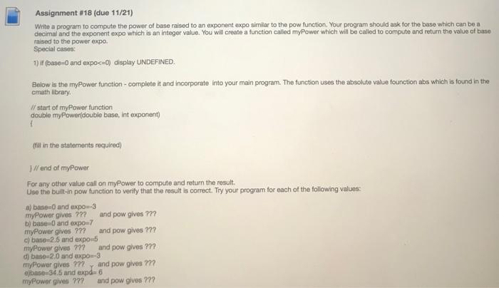 Solved: Assignment #18 (due 11/21) Write A Program To Comp