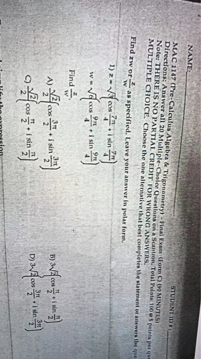 Solved: NAME 프2 3-2 STUDENT ID #: 24 9-4 MAC 1147 (Prc-Ca