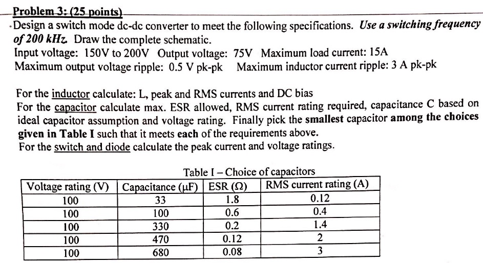 Solved: Problem 3-(25 Points Design A Switch Mode Dc-dc Co