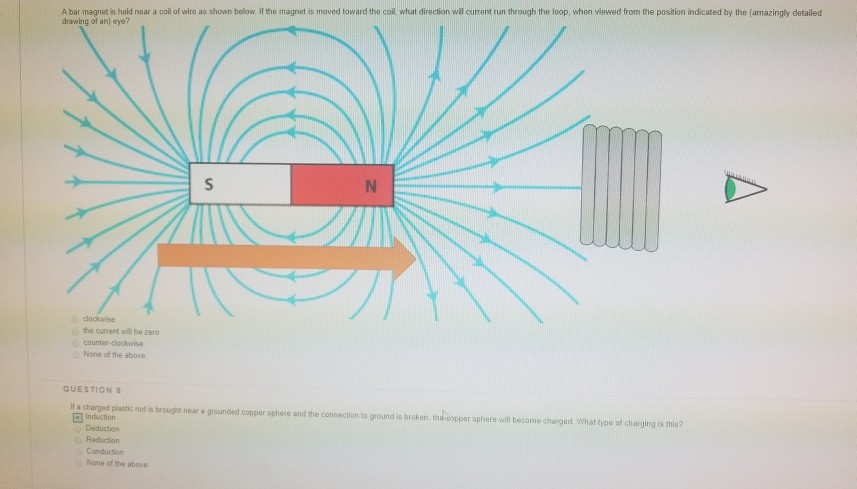 Solved: A Bar Magnet Is Held Near A Col Of Wire As Shown B ...