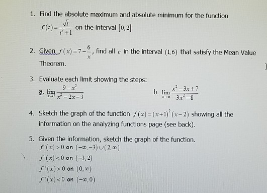 Solved: Worksheet Relating To Things Like Mean Value Theor ...