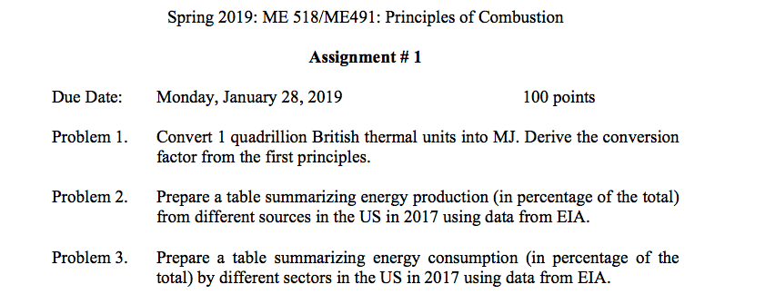 Solved: Spring 2019: ME 518/ME491: Principles Of Combustio