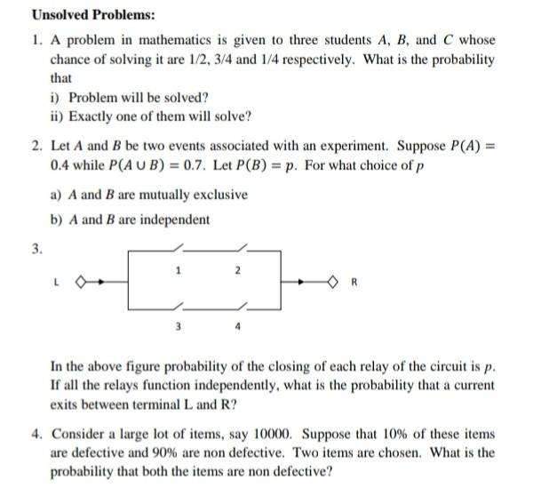 Solved: Unsolved Problems: 1  A Problem In Mathematics Is