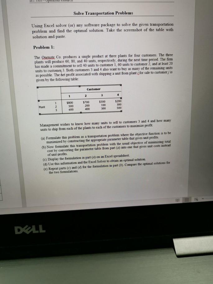 Solved: Solve Transportation Problems Using Excel Solver