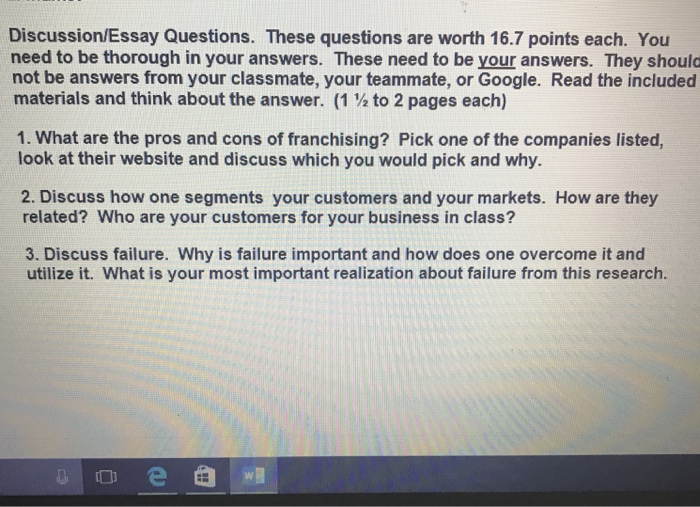 Discussion/Essay Questions. These Questions Are Wo... | Chegg.com