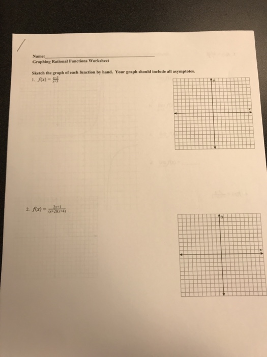 Solved Graphing Rational Functions Worksheet Sketch The G