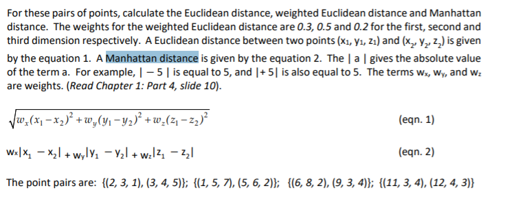 Solved: For These Pairs Of Points, Calculate The Euclidean