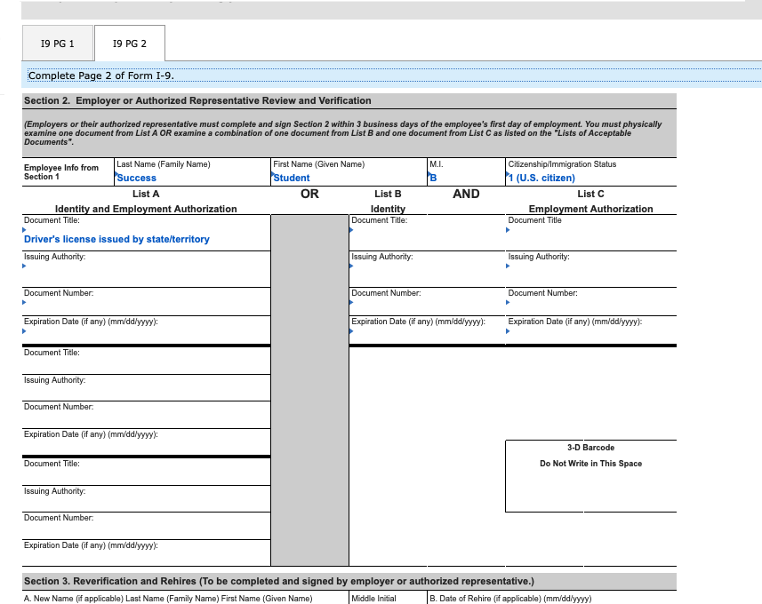 form i-9 must be completed by each new hire  You, Student B. Success, Have Been Hired To Start ...
