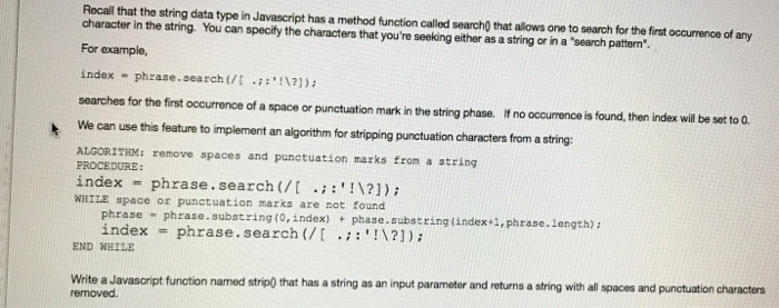 Solved: Rocall That The String Data Type In Javascript Has... | Chegg.com