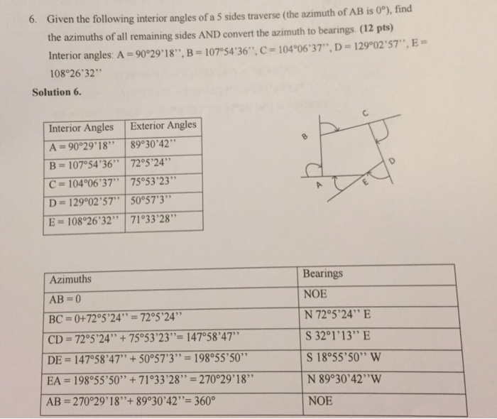 solved given the following interior angles of a 5 sides t