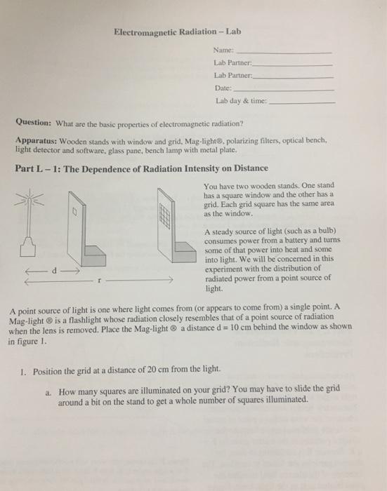 Solved: Electromagnetic Radiation-Lab Name: Lab Partner: L