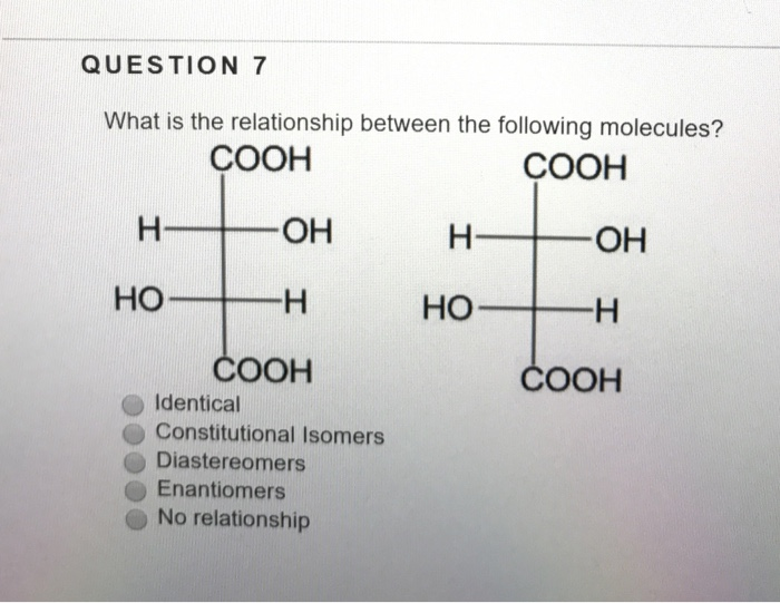 QUESTION 7 What Is The Relationship Between Following Molecules COOH OH