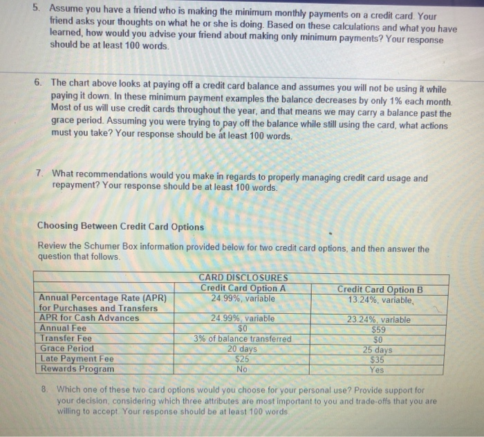 solved  the cost of credit card usage worksheet review ch