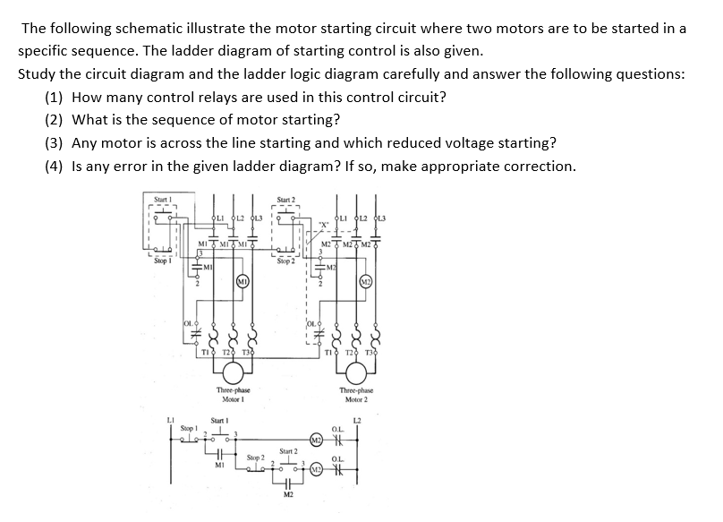 Solved: The Following Schematic Illustrate The Motor Start ...