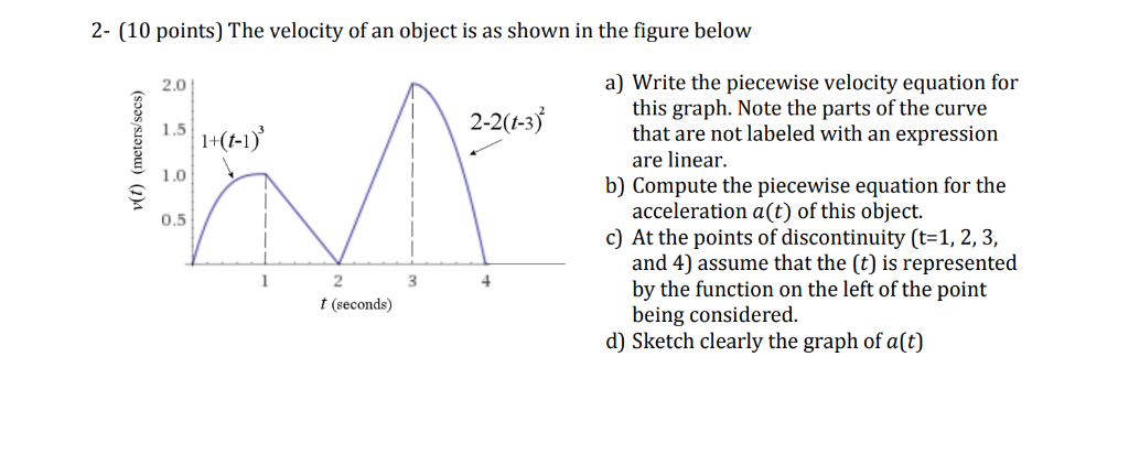 2- (10 points) The velocity of an object is as shown in the figure below 2.0 a) Write the piecewise velocity equation for thi