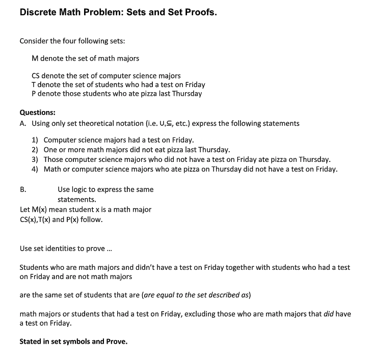 Solved Discrete Math Problem Sets And Set Proofs Conside