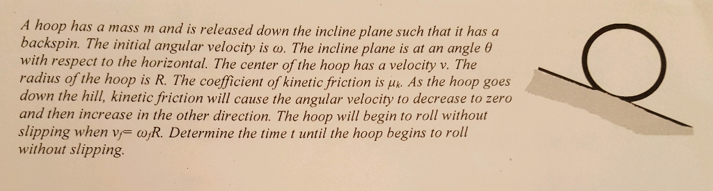 A hoop has a mass m and is released down the incline plane such that it has a backspin. The initial angular velocity is w. Th