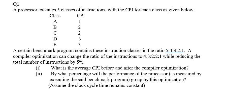 Solved Q1 A Processor Executes 5 Classes Of Instructions