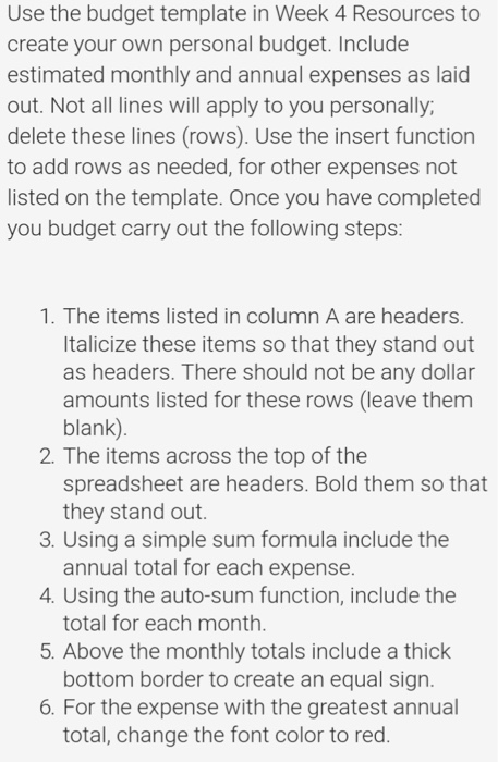 Use The Budget Template In Week 4 Resources To Cre Chegg Com