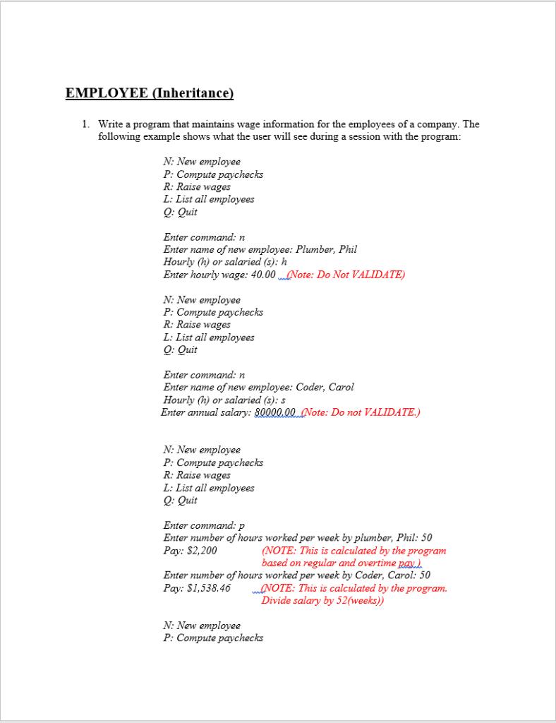 EMPLOYEE (Inheritance 1  Write A Program That Main    | Chegg com