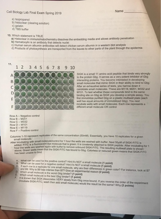 Name Cell Biology Lab Final Exam Spring 2019 a) Isopropanol b) histoclear (clearing solution) c) gelatin d) TBS buffer 10. Wh