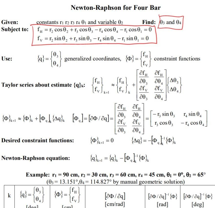 Solved: I Am To Preform A Newton-Raphson Algorithm For Pos
