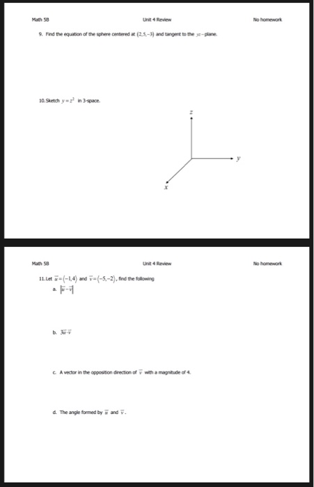 Solved: Math 58 Unit 4 Review No Homework 9  Find The Equa