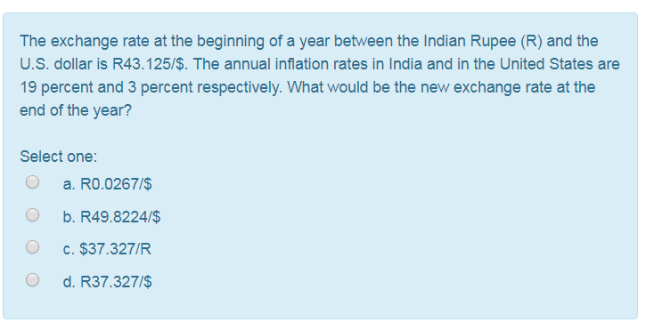 The Exchange Rate At Beginning Of A Year Between Indian Ru R