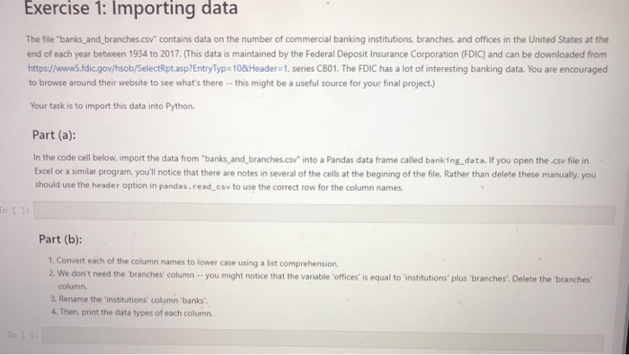 Solved: Exercise : Importing Data The File