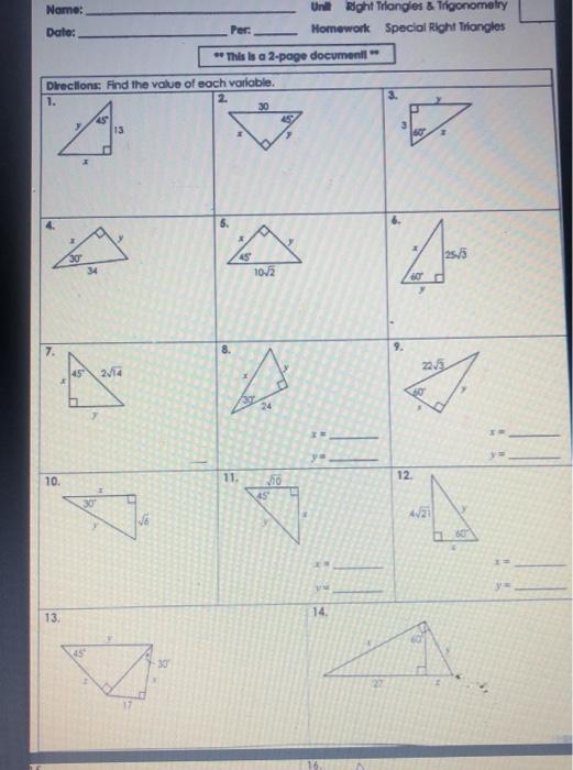 Solved: Right Triangles & Trigonometry Uni Name: Special R ...