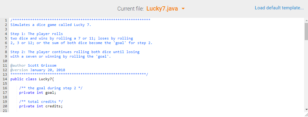 Current File: Lucky7 java Load Default Template