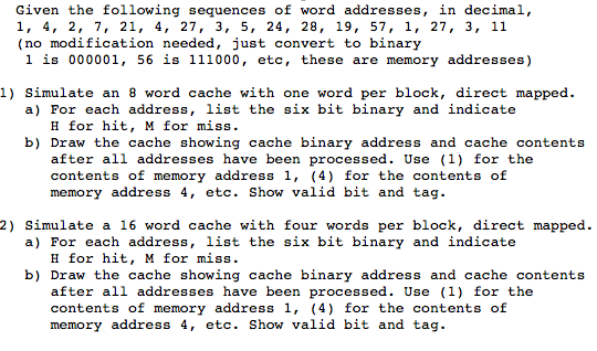 solved given the following sequences of word addresses i