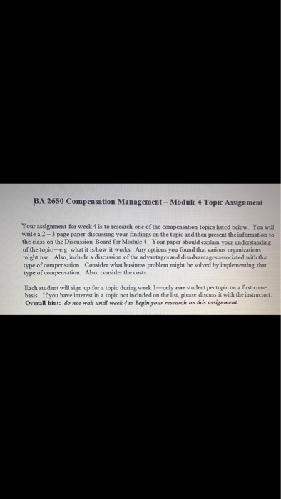 Solved: BA 2650 Compensation Management- Module 4 Topic As