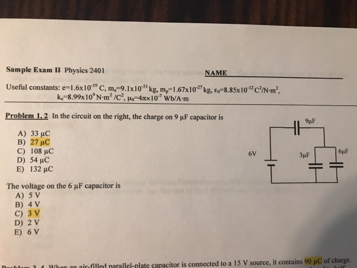 Solved: Sample Exam II Physics 2401 NAME Kg, ε Useful Cons