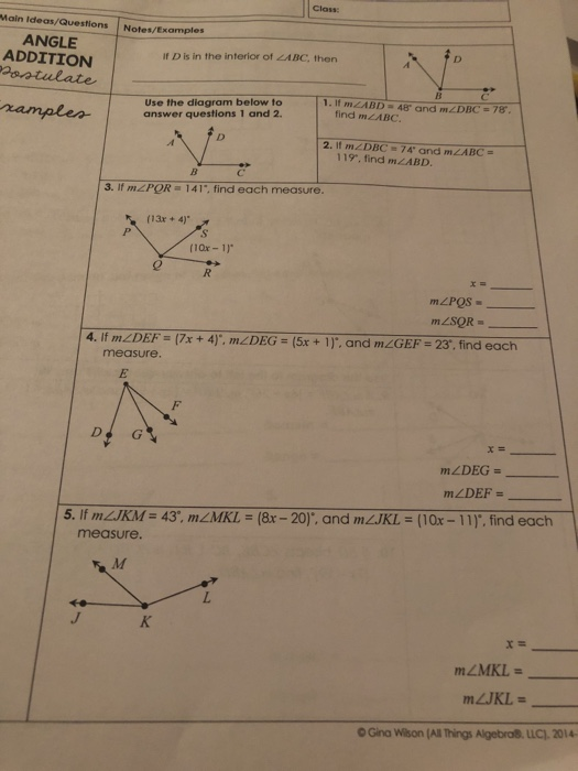 Solved  Class Main Ideas  Questions Notes  Examples Angle Ad