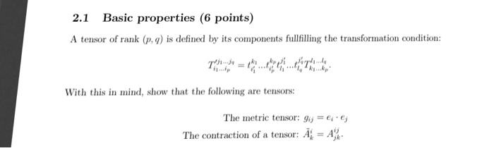 Solved: 2 1 Basic Properties (6 Points A Tensor Of Rank (p
