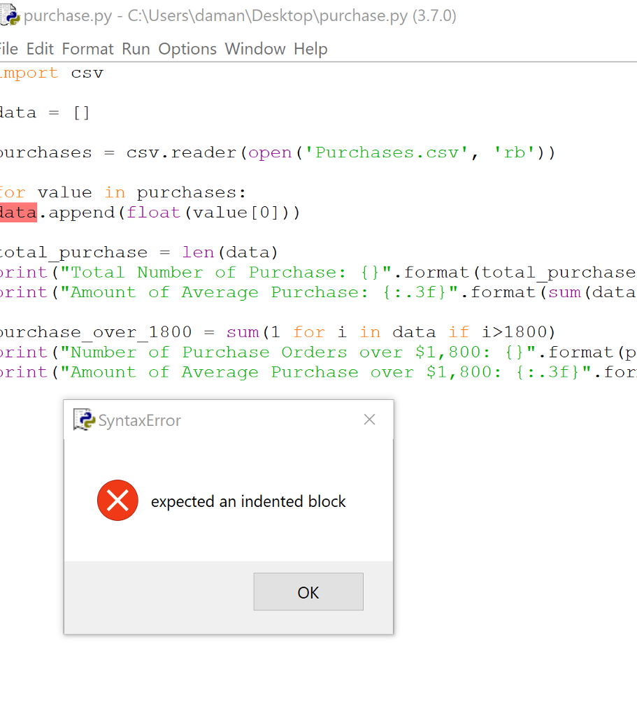 Solved: Purchase py - C\Users Daman\Desktoplpurchase py (3
