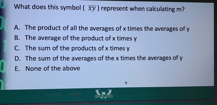 Solved What Does This Symbol Xy Represent When Calcul