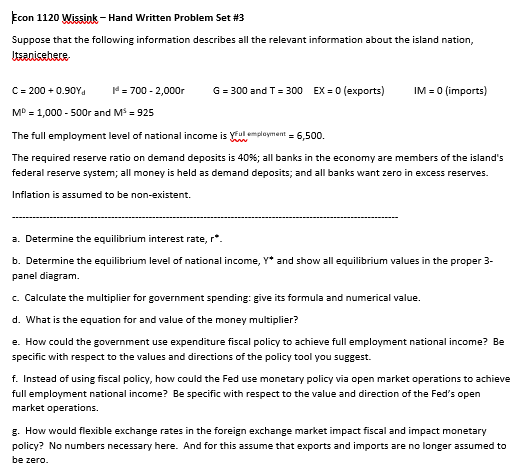Solved Econ 1120 Wissink Hand Written Problem Set 3 Supp