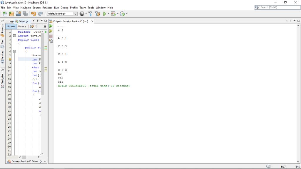 JavaApplication10-NetBeans IDE 8.1 File Edit View Navigate Source Refactor Run Debug Profile Teem Tools Window Help Seardh (C