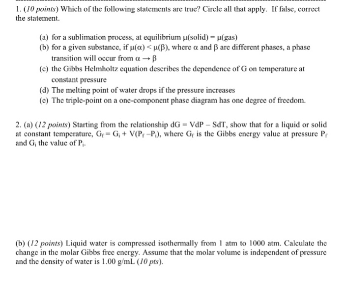 1 10 Points Which Of The Following Statements Are True Circle All